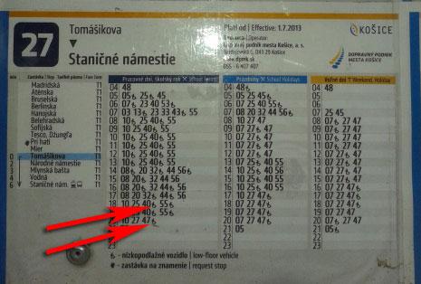 фото расписания транспорта в Кошицах