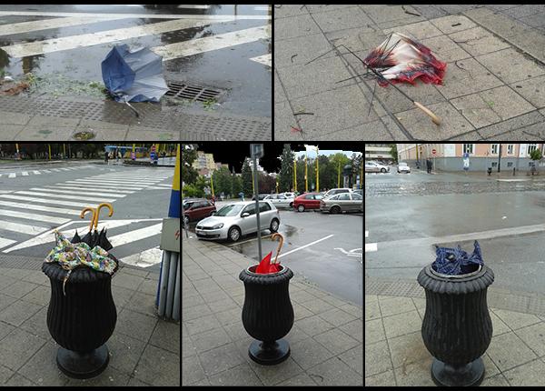 фотоколлаж поломанных зонтов