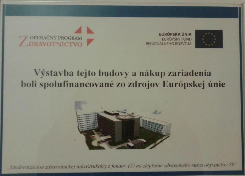 табличка в новой больнице Кошице