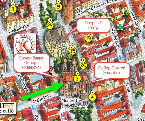 карта центра Кошице с Собором Святой Элизабет