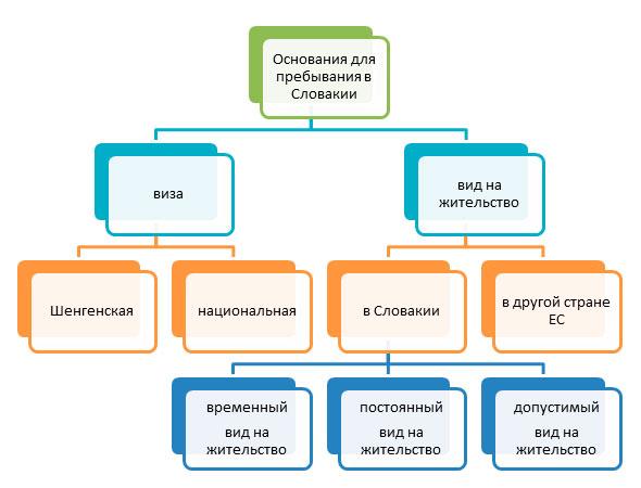 диаграмма основания пребывания в Словакии