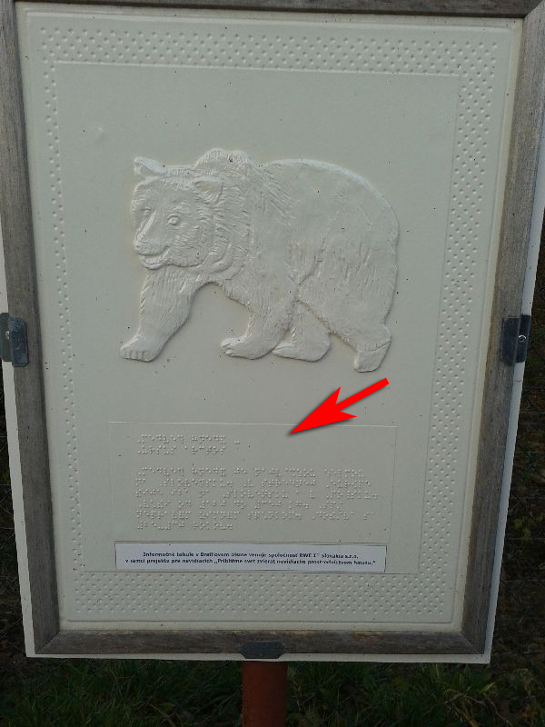 Шрифт Брайля в кошицком зоопарке
