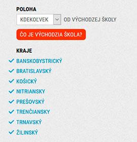 Расположение школ в Словакии
